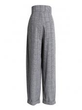 Vintage High Waist Plaid Pants