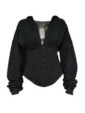 V Neck Tunic Long Sleeve Black Hoodie