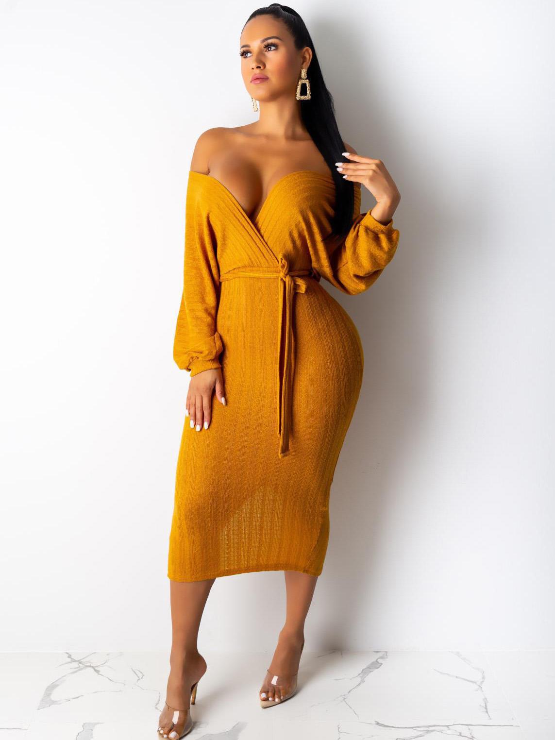 V Neck Backless Knitting Long Sleeve Midi Dress