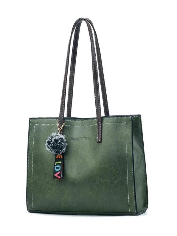 Minimalist Plush Ball Pendant Ladies Large Tote Bags