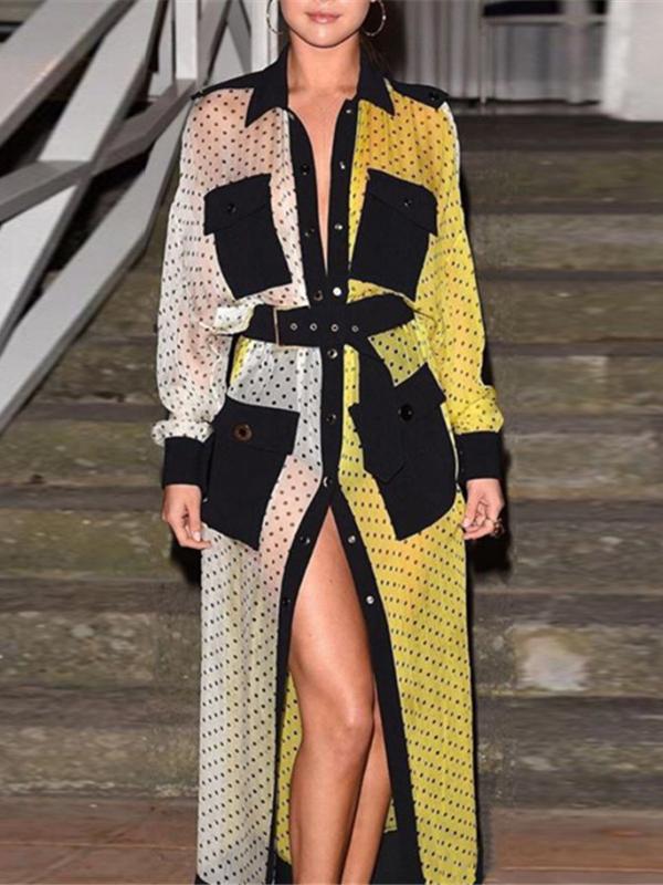 Chic Contrast Color Polka Dots Maxi Dresses