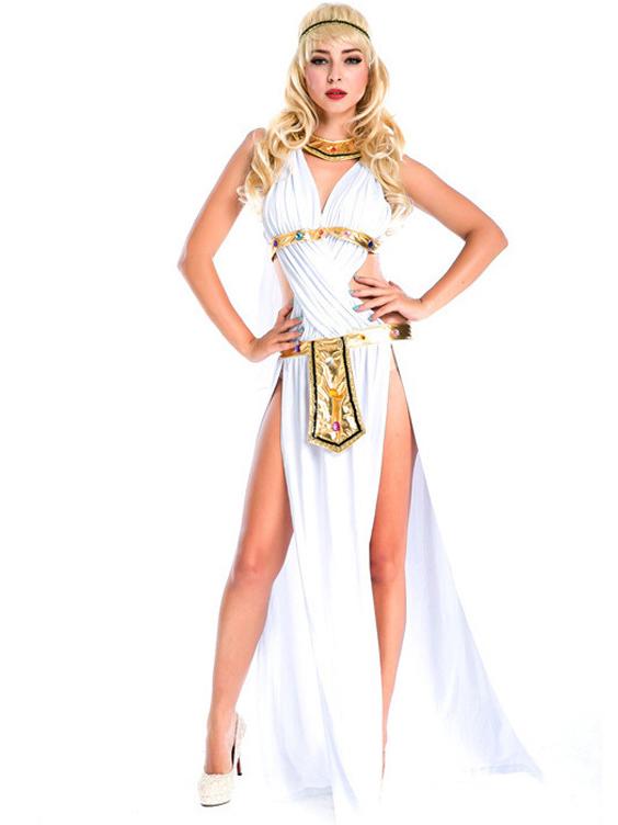 High Split Greek Goddess Maxi Dress Halloween Costumes