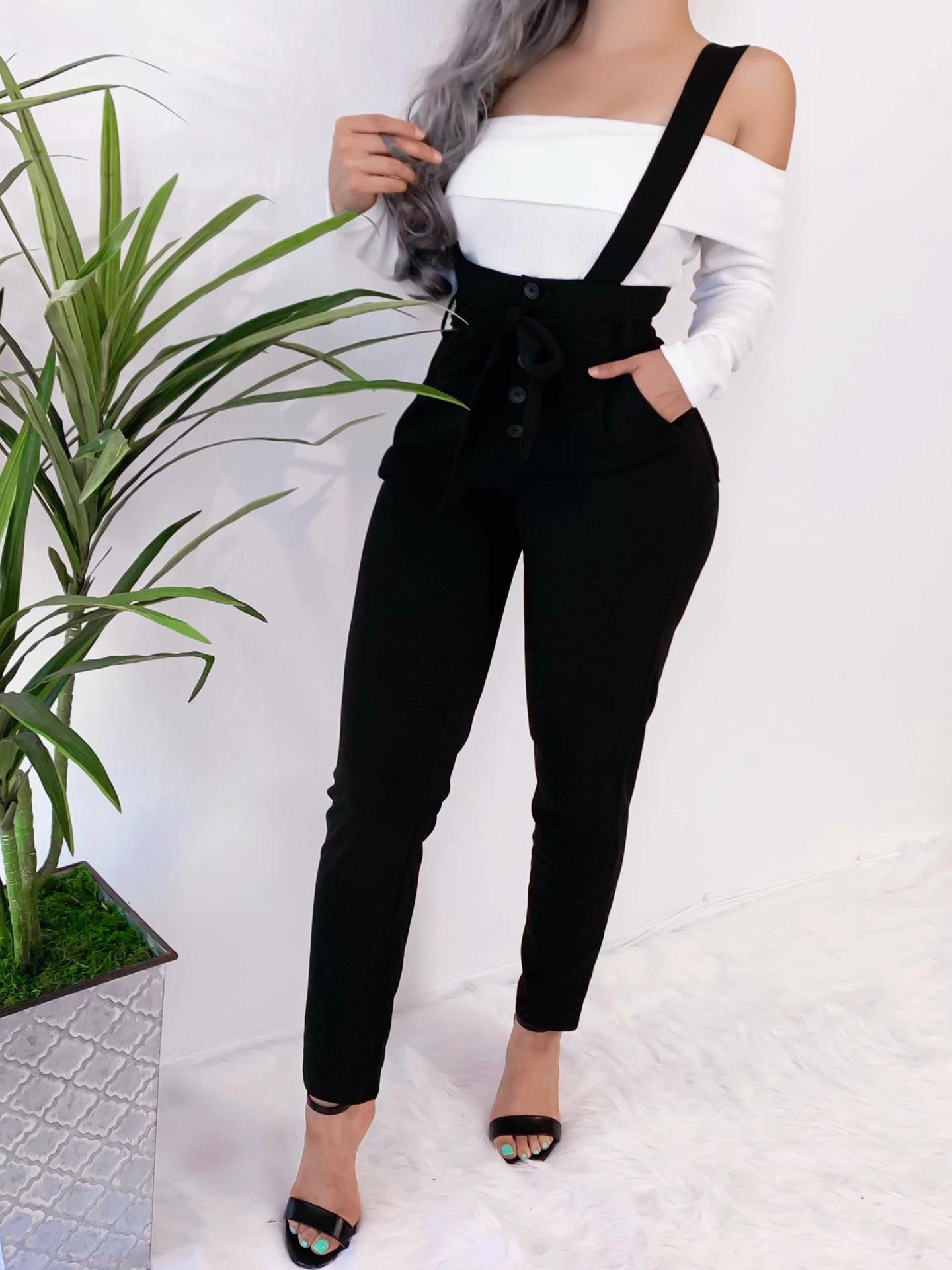 Casual Slim Waist Long Black Pants
