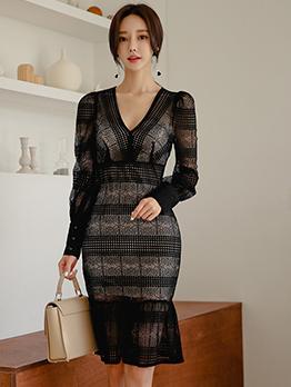 Elegant See Through Ruffle Long Sleeve Dress