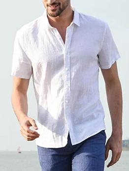 Summer Solid Short Sleeve Shirts For Men