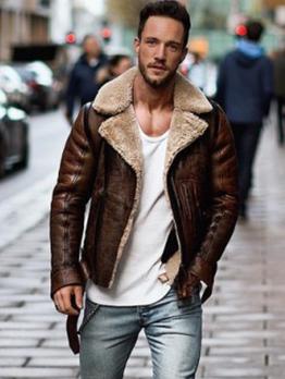 Turndown Collar Zipper Up Leather Jacket