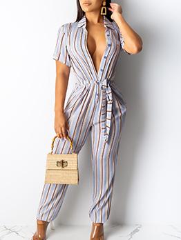 Striped Turndown Collar Short Sleeve Ladies Jumpsuits