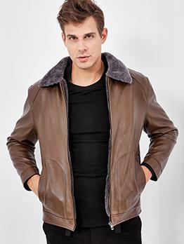 Turndown Collar Thickening Long Sleeve Leather Jacket