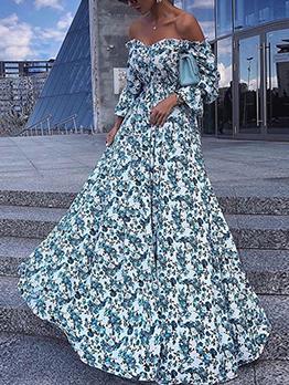 Chic Off Shoulder Ladies Floral Maxi Dress