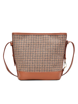 Linen Patchwork Houndstooth Large Crossbody Tote Bag