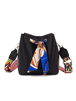 Silk Scarves Decor Colorful Belt 2 Piece Bucket Bag