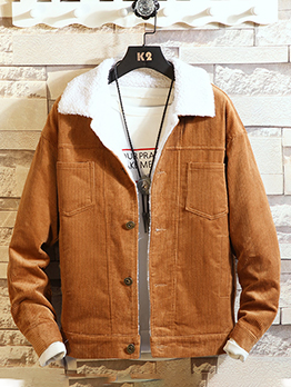 Casual Solid Winter Corduroy Jacket