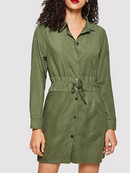 Casual Solid Turndown Collar Shirt Dress