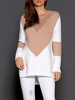 Contrast Color High Low Split Hem Knit Sweater
