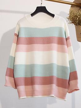 Contrast Color Striped Loose Crew Neck Sweater