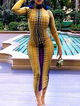 Turtle Neck Polka Dot Long Sleeve Bodycon Dress