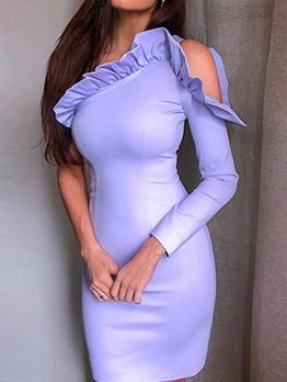 One Shoulder Ruffled Long Sleeve Dress