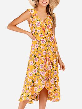 Elegant Slim Fit Floral Sleeveless Summer Dresses