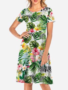 Plants Printed Short Sleeve Summer Dresses