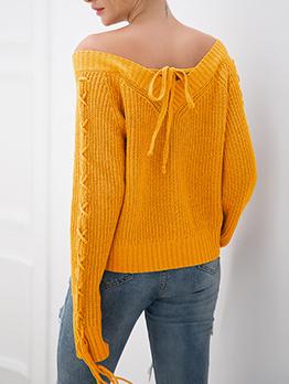 Solid Side Bandage Loose v Neck Sweater