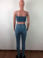 Cartoon Veneer Sleeveless Crop Two Piece Jeans Set