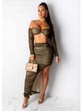 Solid Irregular Tube Crop Top And Skirt Set