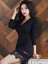 Elegant Lace Patchwork Black Long Sleeve Dress