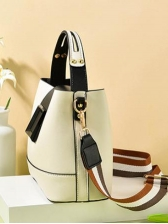 Stitching Color Detachable Wide Belt Shoulder Bag