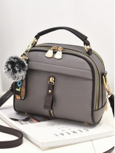 Multiple Zipper Plush Ball Pendant Casual Shoulder Bag