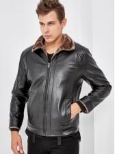 Turndown Neck Zipper Up Leather Jacket