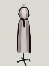Contrast Color Tie-Warp Halter Maxi Dress