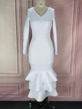 Fashion Ruffle Hem Hollow Out Maxi Dresses