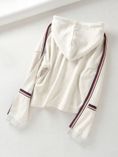 Drawstring Striped Loose Pullover Hoodie