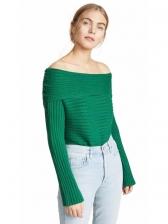 Off Shoulder Long Sleeve Pullover Sweater