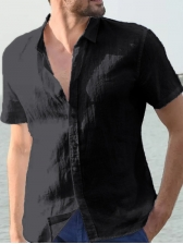 Summer Solid Short Sleeve Shirts For Men