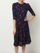 Crew Neck Cherry Printed Chiffon Ladies Dress