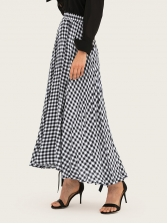 Large Swing Elastic Waist Women Plaid Maxi Skirt