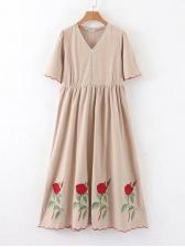 V Neck Embroidery Short Sleeve Summer Dresses