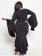 Bat Sleeve Plus Size Fishtail Maxi Dresses For Women