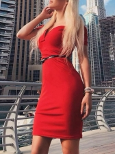 Off Shoulder V Neck Short Sleeve Bodycon Dress