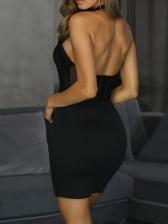 Sexy Gauze Patchwork Black Halter Dress