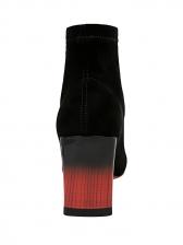 Black Gradient Color Chunky Heel Sock Boots