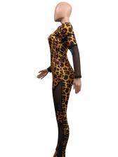 Tulle Patchwork Leopard Print Long Sleeve Jumpsuit