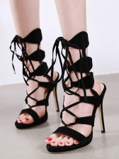 Hollow Out Lace Up High Heel Ladies Sandal