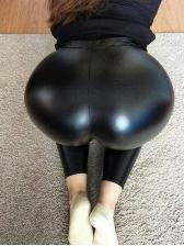 PU Tight Elastic Waist Hot Pants