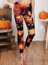 Halloween Pumpkin Printed Womens Joggers