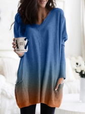 Loose Gradient Color Two Pockets Long T Shirt