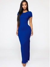 Solid Backless Split Casual Maxi Dresses