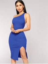 Inclined Shoulder Back Hollow Out Sexy Dress