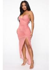 Split Solid Gauze Patchwork Sexy Maxi Dresses